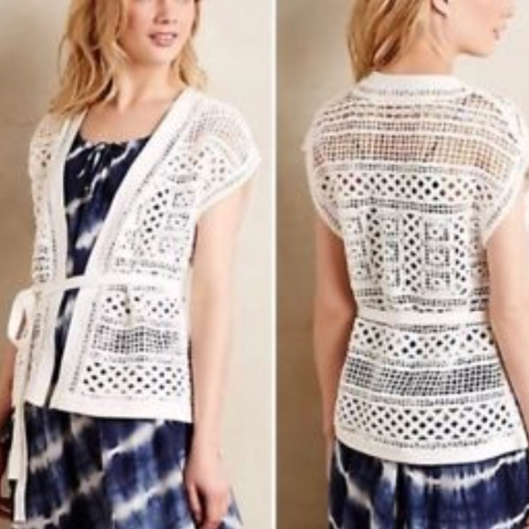 Anthropologie Sweaters Knitted Knotted White Crochet Cardigan Vest